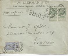 2568/ TP 56(2)-60 S/L.recommandée Entête W.Dierman & Cie Liège En Expres C.Liège (Guillemins)1896 V.Verviers - 1893-1900 Thin Beard