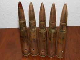 Lot De 5 Cartouches .50 (12,7) WW2 Neutralisées - 1939-45