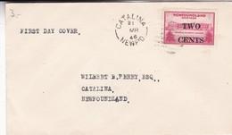 ENVELOPPE FDC NEWFOUNDLAND, CATALINA YEAR 1946. STAMP OVERTAXED TWO CENTS.- BLEUP - Newfoundland