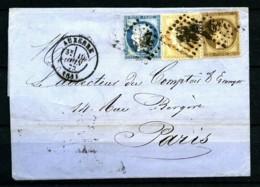 56 + 59 + 60 - Bel Affranchissement TRICOLORE Sur Lettre D' AUXERRE Pour PARIS - 10 Juin 1873 - Très Bon état. - 1871-1875 Cérès