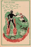 Chromo . Papa Frileuse .. Vermifuge, Vin, The,marie Rose, Mort Des Poux Et Lantes,ski Nautique - Thee & Koffie