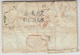 LAC DEPARTEMENTS CONQUIS - LAC - Déb. 87 Gênes - Au Verso D'une LAC De Fontainebleau - 28/11/1808 - B/TB - Marcophilie (Lettres)