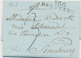 LAC DEPARTEMENTS CONQUIS - LAC - 100 NEUSTADT - 1805 - Pour Strasbourg - TB - Marcophilie (Lettres)