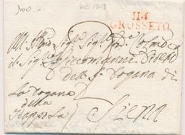 LAC DEPARTEMENTS CONQUIS - LAC - 114 GROSSETO (rouge) - Déc. 1808 - Pour Siena - TB - Marcophilie (Lettres)