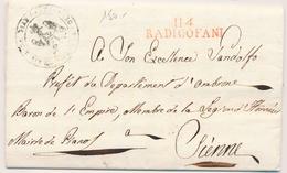 """LAC DEPARTEMENTS CONQUIS - LAC - 114 RADICOFANI (rouge) S/pli De La Commune De """"Pian Castagnajo"""" 27 Nov. 1811 Pour Sienn - Marcophilie (Lettres)"""