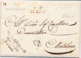 LAC DEPARTEMENTS CONQUIS - LAC - P.P. SIENA (rouge) Dépt 114 OMBRONE + Marque De Franchise De La Province De Sienne - 8/ - Marcophilie (Lettres)