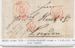 LAC MARQUES D'ENTREE (N° Noël) - LAC - N°1122 - Suisse Belfort - 27/7/39 (Rge) + 7 A.E.J.F Rge + Càd Basel Rouge - Pr Lo - Marcophilie (Lettres)