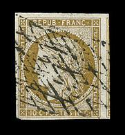 O EMISSION CERES 1849 - O - N°1 - Obl Grille Sans Fin + Filet Voisin - Signé - TB - 1849-1850 Cérès