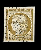 O EMISSION CERES 1849 - O - N°1b - Bistre Verdâtre - Obl. DS2 - Signé Et Notifié CALVES - TB/SUP - 1849-1850 Cérès