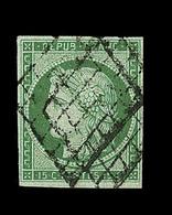 O EMISSION CERES 1849 - O - N°2 - 15c Vert - Obl Grille -  Signé Roumet  - TB - 1849-1850 Cérès