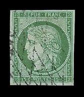 O EMISSION CERES 1849 - O - N°2 - 15c Vert - Obl. Grille Sans Fin - TB - 1849-1850 Cérès