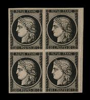 **/* EMISSION CERES 1849 - **/* - N°3 - Bloc De 4 - Petit BDF - 2 Ex Luxe - Signé Calves - 1849-1850 Cérès