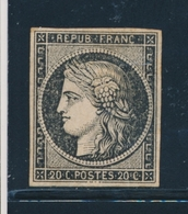 * EMISSION CERES 1849 - * - N°3 - 20c Noir - Impression Défectueuse - Gomme Brunâtre - TB - 1849-1850 Cérès