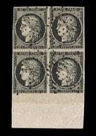O EMISSION CERES 1849 - O - N°3 - 20c Noir S/jaune - Bloc De 4 - BDF - Obl. Étoile - 2 Ex Filet Effleuré - Très Plaisant - 1849-1850 Cérès