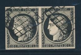 O EMISSION CERES 1849 - O - N°3 - Paire - Obl. Grille - TB/SUP - 1849-1850 Cérès