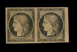 * EMISSION CERES 1849 - * - N°3b - Paire - 20c Noir S/chamois - Gomme Brunâtre - BDF - Signé MIRO - TB/SUP - 1849-1850 Cérès