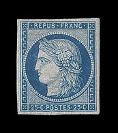 """** EMISSION CERES 1849 - ** - N°4 - 25c Bleu - Infime Fente Ds La Marge Sous Le """"O"""" De Postes - Signé Maury - 1849-1850 Cérès"""