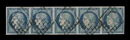 O EMISSION CERES 1849 - O - N°4 - 25c Bleu - Bde De 5 - Qualité Exceptionnelle - Pièce De Luxe - TB - 1849-1850 Cérès