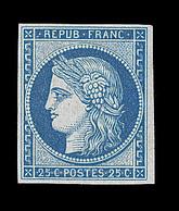 * EMISSION CERES 1849 - * - N°4d - 25c Bleu - Réimpression - TB - 1849-1850 Cérès