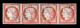 O EMISSION CERES 1849 - O - N°5 - 40c Orange - Bde De 4 - Obl. PC 898 - TB - 1849-1850 Cérès