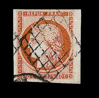 O EMISSION CERES 1849 - O - N°5 - 40c Orange - Obl Grille - Bdf - Signé A. Brun - TB/SUP - 1849-1850 Cérès