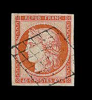 O EMISSION CERES 1849 - O - N°5 - 40c Orange - Obl Grille - Signé Calves/Brun - TB - 1849-1850 Cérès
