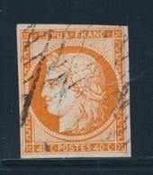 O EMISSION CERES 1849 - O - N°5d - 40c Orange - Variété 4 Retouché - TB - 1849-1850 Cérès