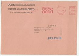 1975 OECD PARIS To UN NY USA France To United Nations METER SLOGAN OCDE COVER Airmail Stamps Economic Cooperation - UNO