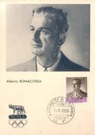 SAN MARINO 1959 - CARTOLINA FDC PRIMO GIORNO DI EMISSIONE PRE OLIMPICA:ALBERTO BONACOSSA. - FDC
