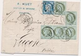 LAC Emission IIIème République Sur Lettre - LAC - N°50 X5 Ex. Dt Bde De 3 - Obl Rouen - 24/08/76 - Pour Luçon - TB - Marcophilie (Lettres)