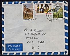 Ca0198 ZAMBIA 1992, Bird Stamps On Kitwe Cover To UK - Zambie (1965-...)