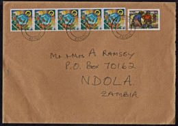 Ca0207 ZAMBIA 2002, 5 @ SG 745 Christmas & ILO Surcharge On Chingola Cover To UK - Zambie (1965-...)