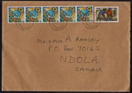 Ca0207 ZAMBIA 2002, 5 @ SG 745 Christmas & ILO Surcharge On Chingola Cover To UK - Zambia (1965-...)