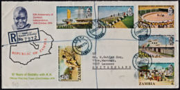 Cb5098 ZAMBIA 1974, SG 211-6 10th Anniv Indeoendence, Registered FDC, Choma Cancellation - Zambie (1965-...)