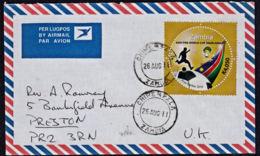 Cb5107 ZAMBIA 2011, Football Stamp On Chiwempala Cover To UK - Zambia (1965-...)