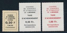 ** TIMBRES DE GREVE (REF. MAURY) - ** - N°9/11 - Epinal, Libourne - TB - Strike Stamps