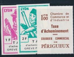 ** TIMBRES DE GREVE (REF. MAURY) - ** - N°33/35 - Périgueux, Lyon - TB - Strike Stamps