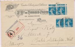 L VARIETES  - L - N°140IA - 2 Paires - Obl Paris - S/recom. 5/1/1923 - Superbe Piquage à Cheval - Sur Lettre Peu Courant - Variétés Et Curiosités