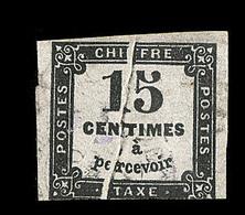 O VARIETES - TIMBRES TAXE - O - N°3 - 15c Noir - Pli Accordéon - 1 Filet Touché - Variétés Et Curiosités