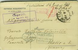 AVELLINO - IMPRESA ACQUEDOTTO - CARTOLINA PER UN PRIGIONIERO DI GUERRA IN LAGER HALLE A.S. - TIMBRO CROCE ROSSA (BG1715) - Weltkrieg 1914-18