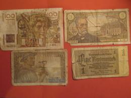 LOT 4 Billets Abîmés Mauvais états 3 Français FRANCE 5 10 100 Frs Francs Et 1 Billet Allemand 1 Un Reichsmark - Non Classés