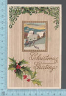 CPA - Christmas Greetings, Gui, Goldprint, Rural View, Covert Brattleboro V.T.  1910   On A USA Stamp - Noël