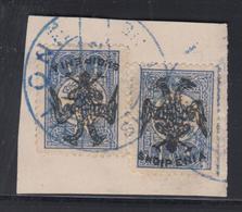 F ALBANIE - F - N°7 (x 2) - 1pi Outremer - Signé Calves - TB - Albanie