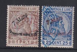 O ALBANIE - O - N°34, 36 - 2 Val  -TB - Albanie