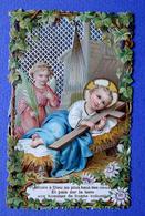 IMAGE PIEUSE...JÉSUS DANS SA CRÈCHE...AVEC SA CROIX ET UN ANGE - Devotion Images