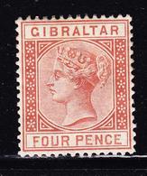 * GIBRALTAR - * - N°12 - 4p Brun Rouge - TB - Gibraltar