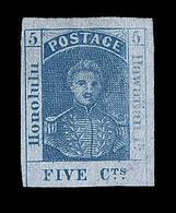 * HAWAÏ - * - N°7a - 5c Bleu S/papier Azuré - Signé  Pavoille - B/TB - Hawaï