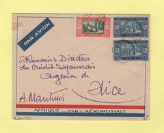 Senegal - Dakar - Par Avion Destination Nice - 6 Jnvier 1933 - Enveloppe De L'Aeropostale - Poste Aérienne