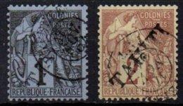 TAHITI - 1 & 2 C. De 1893 Oblitéré Avec Surcharge FAUSSE - Tahiti