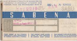 Ticket Sabena Billet De Voyage Bruxelles - Léopoldville Congo Belge 1958 - Biglietti